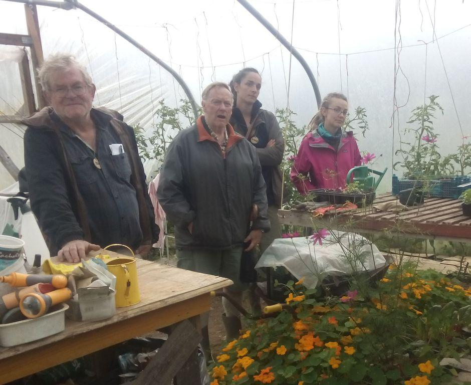 people in polytunnel