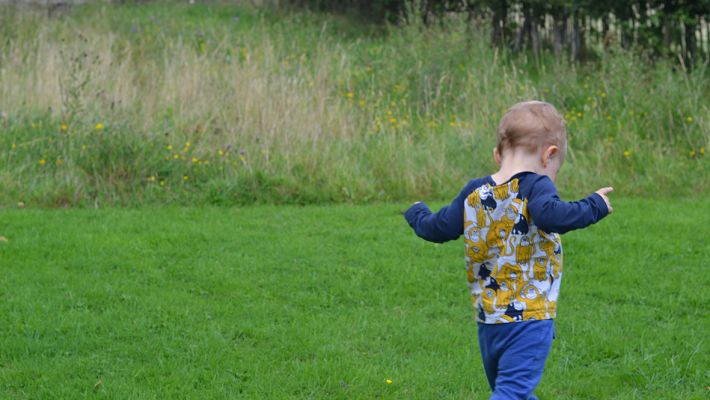 Young child playing at the edge of a meadow